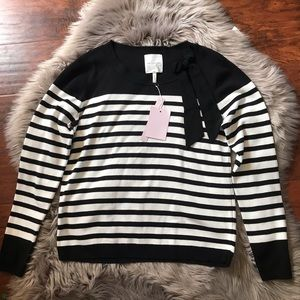 Avec les filles black White Striped Sweater bow L